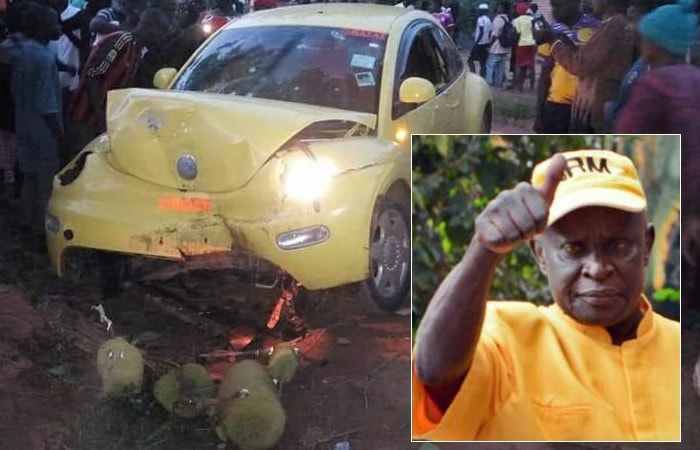 Abiriga's car shortly after being shot