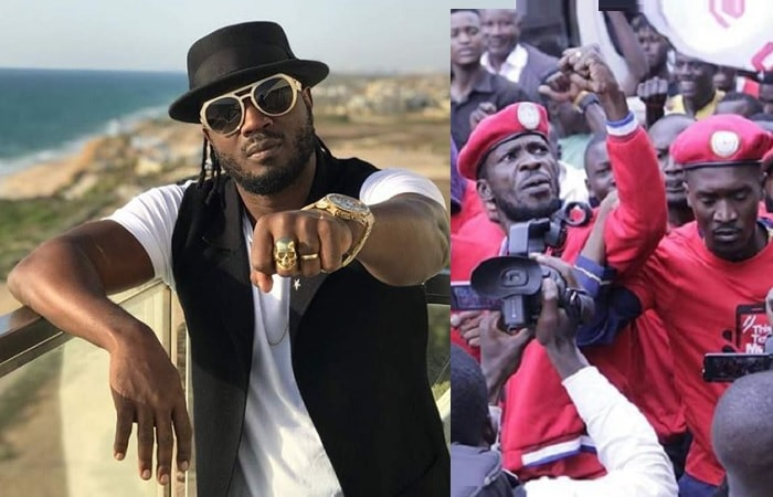 The Batiddemu singer, Bebe Cool and inset is Bobi Wine during the social media tax demo