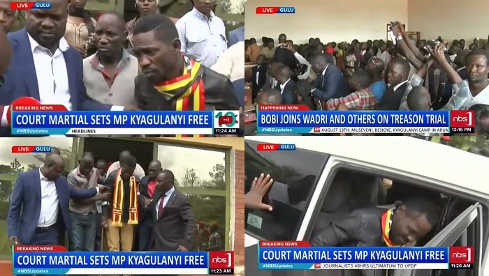 Bobi Wine as he was being transferred to the Gulu court from the Court Martial