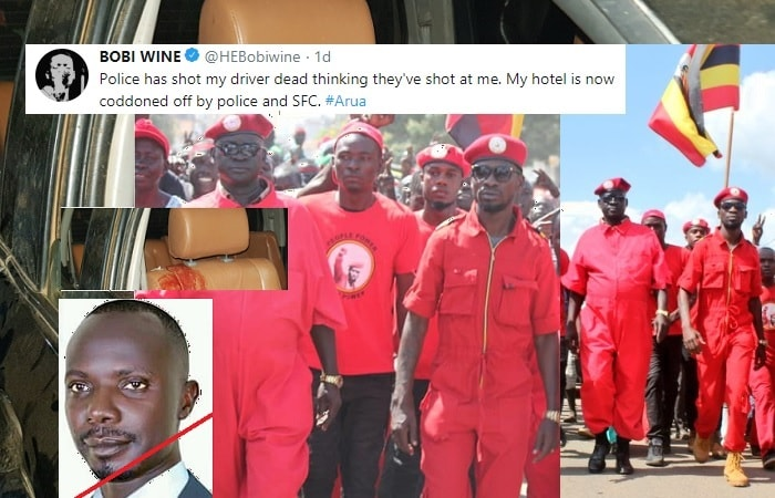 Bobi Wine confirms in a tweet that his driver was shot dead