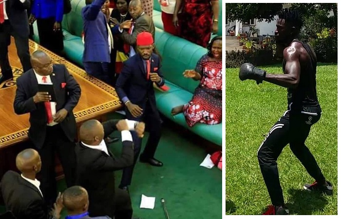 Bobi Wine throwing some jabs at a security operative