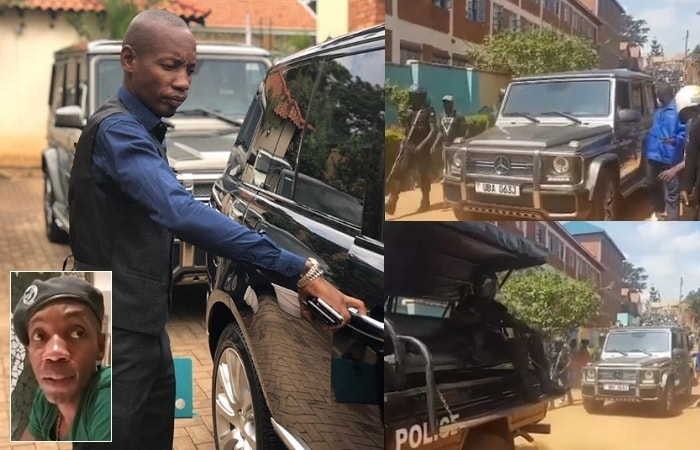 """Inset is Bryan White at Serena Hotel speaking about his """"arrest"""" and the confiscated AMG posh ride"""