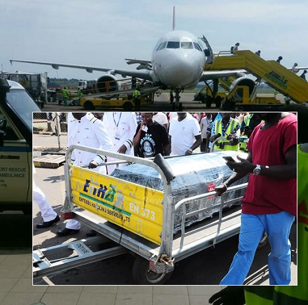 The casket on arrival at Entebbe Airport