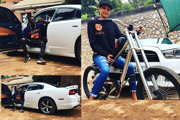 Chameleone strikes a pose on his dodge charger ride