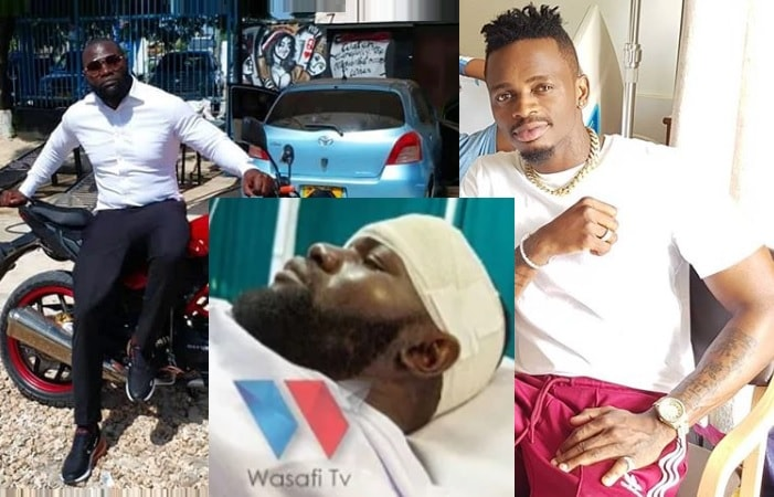 Diamond Platnumz and his bodyguard survive accidents, Mwarabu nursing skull injuries