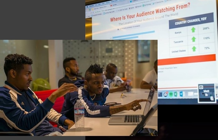 Diamond Platnumz analyzing the analytics results from YouTube
