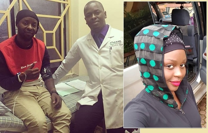 Eddy Kenzo with his doc at Case Clinic and inset is Rema Namakula