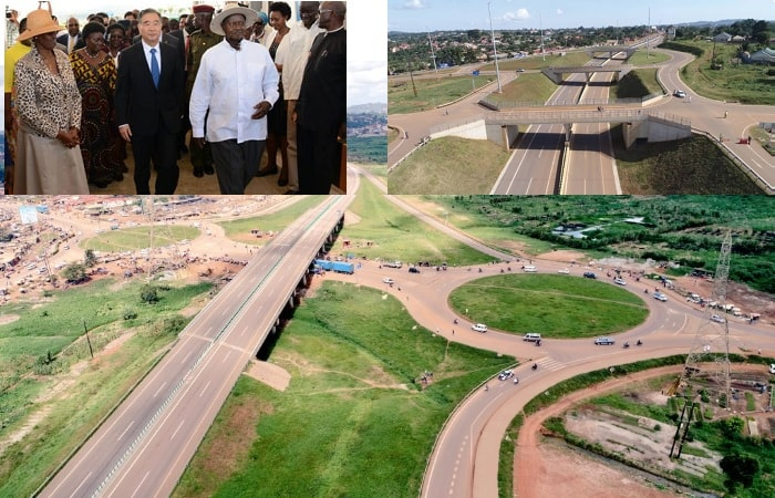 Part of teh Entebbe Express Highway and inset is the First Lady, Speaker of Parliament, China's Premier and the President