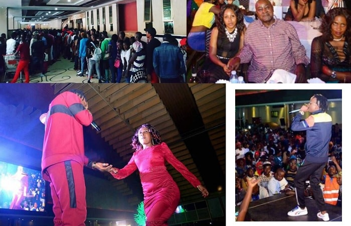 The Fik Fameica crowd at Freedom City and inset is Shaffic and mom putting o matching colours