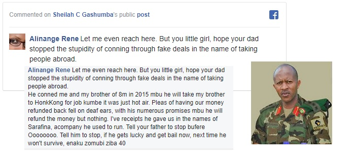 One of the victims responding to Sheila Gashumba's post and inset is Frank Gashumba in a Rwanda military uniform