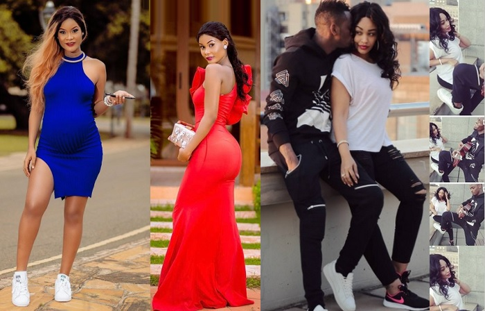 Hamisa Mobetto while pregnant and inset is Zari and Diamond Platnumz