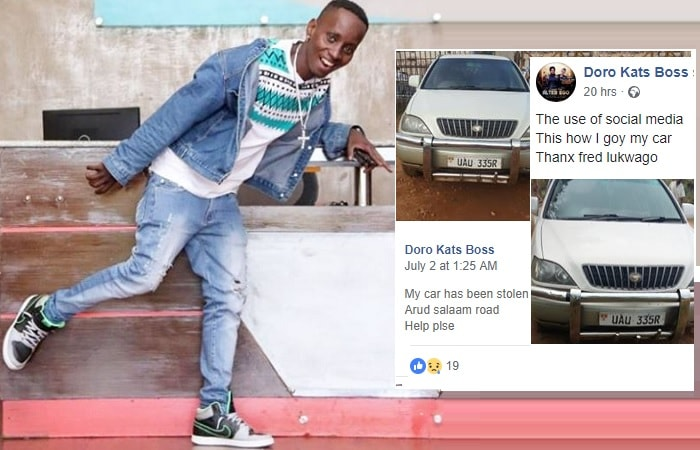 This was MC Kats' mood after recovering his car that had earlier been stolen
