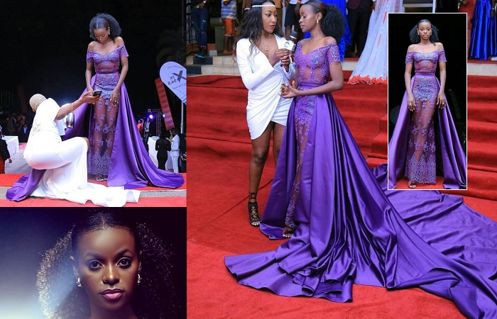 Hellen Lukoma sparkles in a purple gown at the Uganda Entertainment Awards