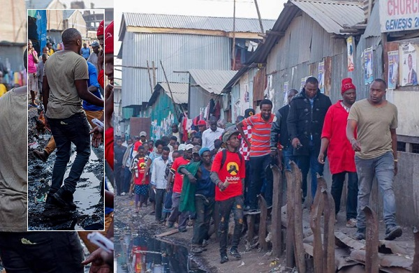 The musician touring a slum in Kenya