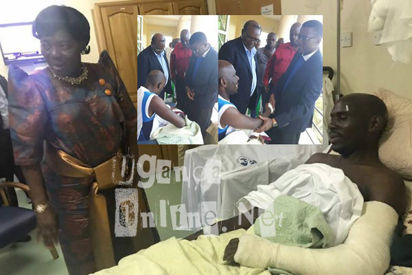 Speaker of Parliament checking on SK Mbuga at Nakasero Hospital