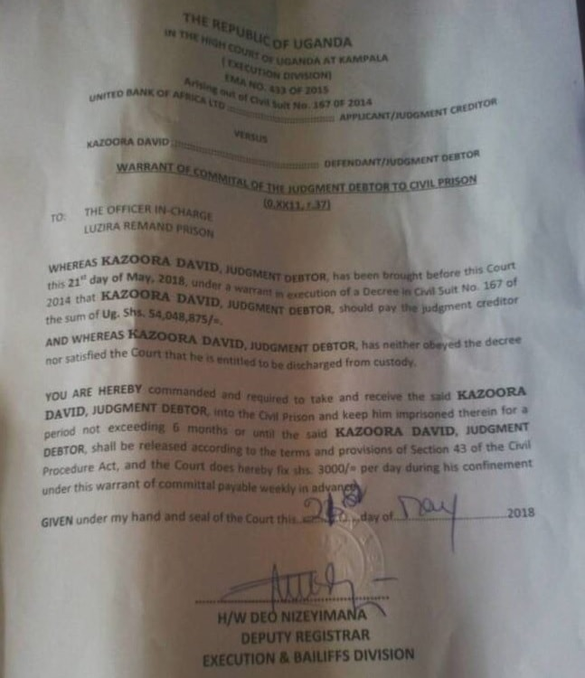 Kazoora's warrant of commital of the judgement debtor to civil prison