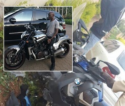 SK Mbuga in a nasty bike accident