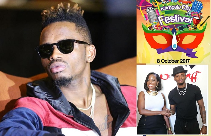 Diamond Platnumz and inset is the KCCA Executive Director Jenipher Musisi