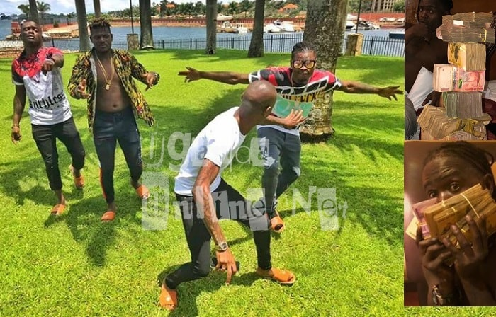 Podium boys Weasel, DJ Michael, Pallaso at work with their boss, Bryan White