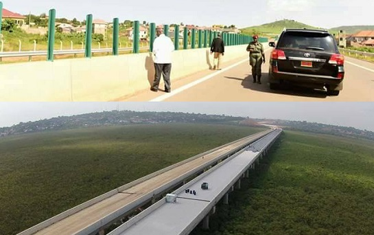 President Museveni assessing the progress of the Entebbe Kampala express Highway