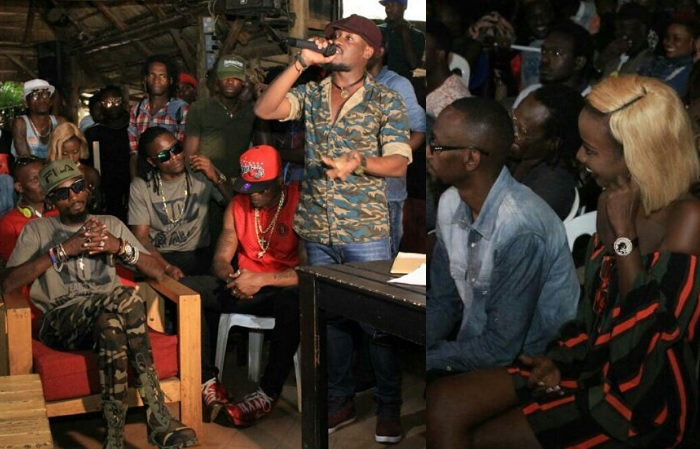 Ray Signature talking as Moze Radio, Wesel, Pallaso and Lydia Jazmine follow the event