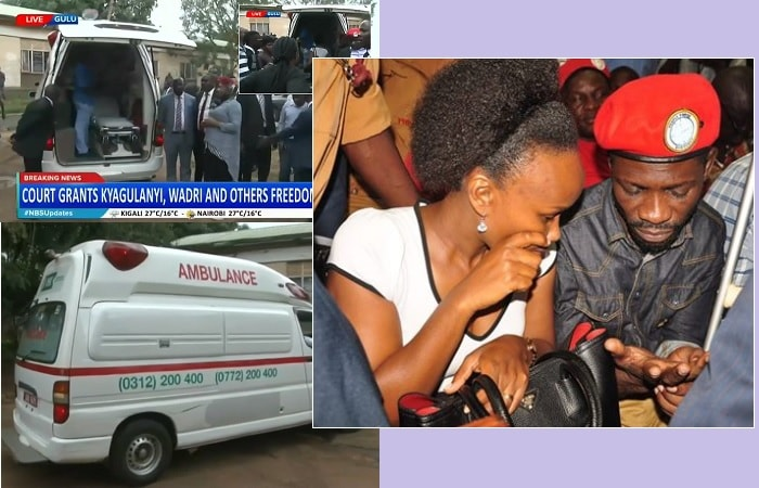 Inset is Bobi Wine and Barbie in court and the ambulance that will bring him to Kampala