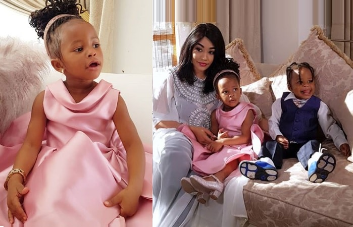 Zari and her children with star singer Diamond Platnumz, Tiffah and Nillan