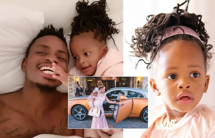Tiffah and her dad, Diamond Platnumz and inset is Tiffah on her second birthday