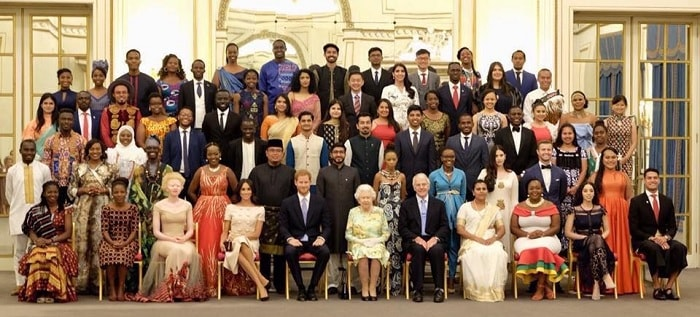 Winners pose for a group photo with Queen Elizabeth