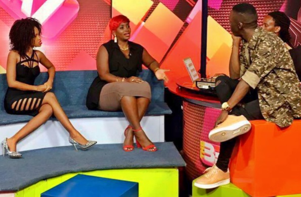 Sheila Gashumba and Douglas Lwanga look on as Winnie explains herself