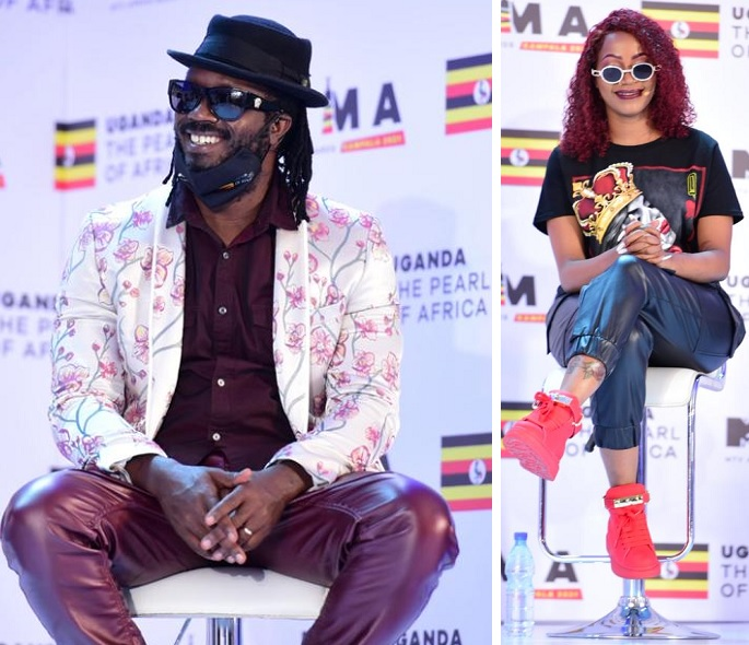 Bebe Cool and Sheebah during the press conference at Mestil Hotel