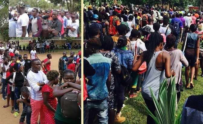 On the left are the fans at Kiwatule while on the Right, Bobi Wine fans make their way to One Love Beach