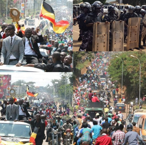 There was heavy deplotment as Bobi Wine's crowd trekked the 15kms