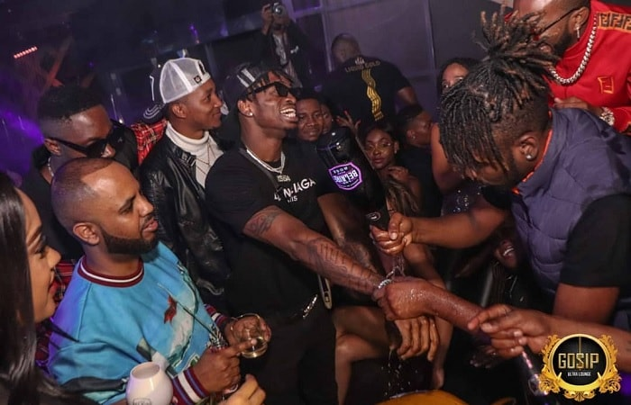 Diamond Platnumz being washed with the Belaire drink