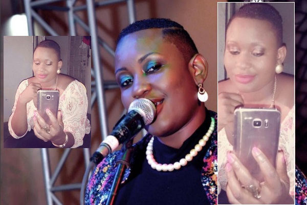 Angela Kalule performing and inset she records herself