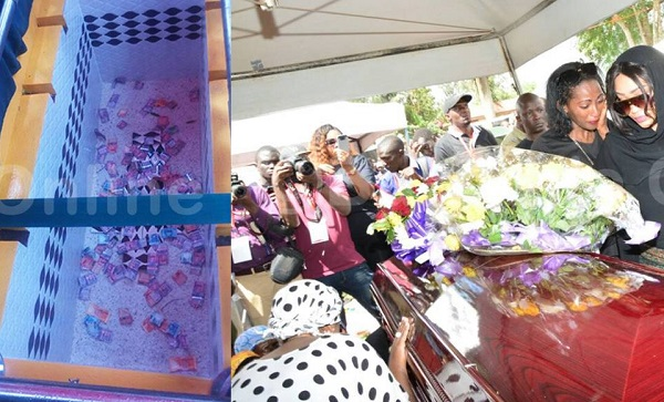 mourners threw money in Ivan Semwanga grave