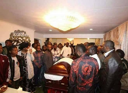 Ivan Semwanga's casket before being taken to the airport