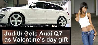 Judith Gets Audi Q7 as Valentine's day gift