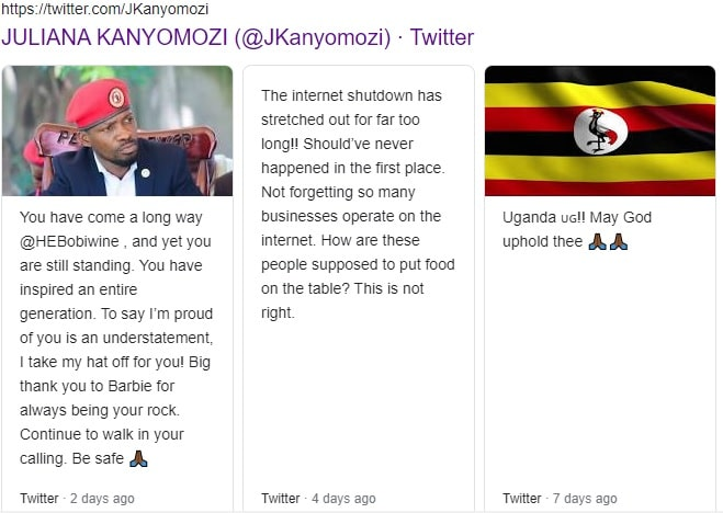 Juliana Kanyomozi twitter posts