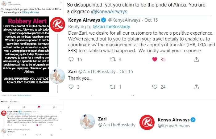 Kenya Airways tweet to Zari in response to her luggage theft claims