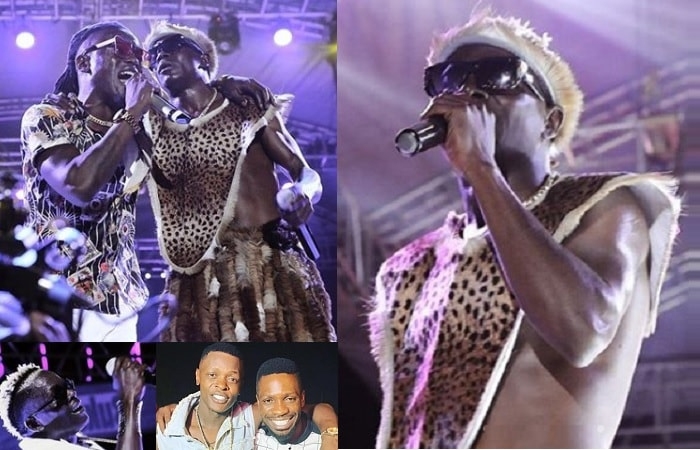 Weasel and King Saha performing and inset is Chameleone and Bobi Wine