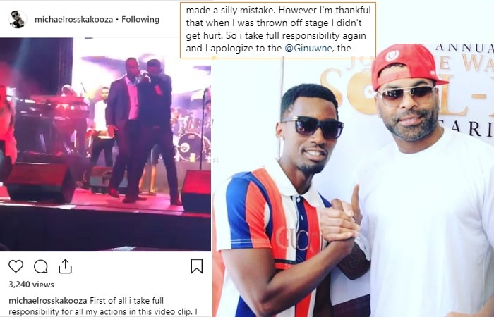 Michael Ross being thrown off stage and inset is Michael and Ginuwine