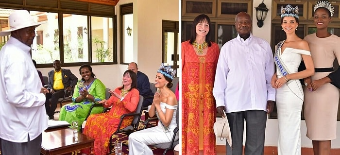 President Musveni hosts Miss World 2019 and the Miss World CEO Julia Morley