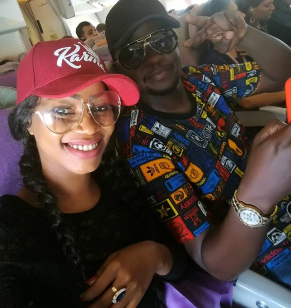 Sheebah and her manager Jeff Kiwa on a flight to Dubai