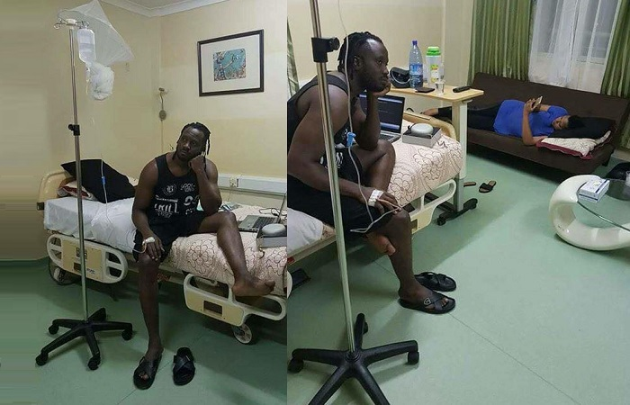 Bebe Cool at Victoria Hospital Uganda on a drip