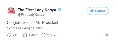 Tweet from the First Lady Kenya congratulating her hubby