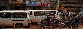 Commuter Taxis and Boda Bodas on Kampala road
