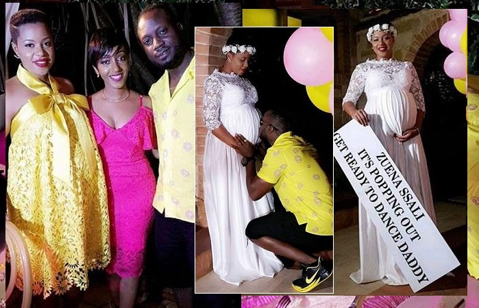 Zuena, her little sister Mimi and Bebe Cool..Inset is Bebe kissing the bump as he prepares to dance